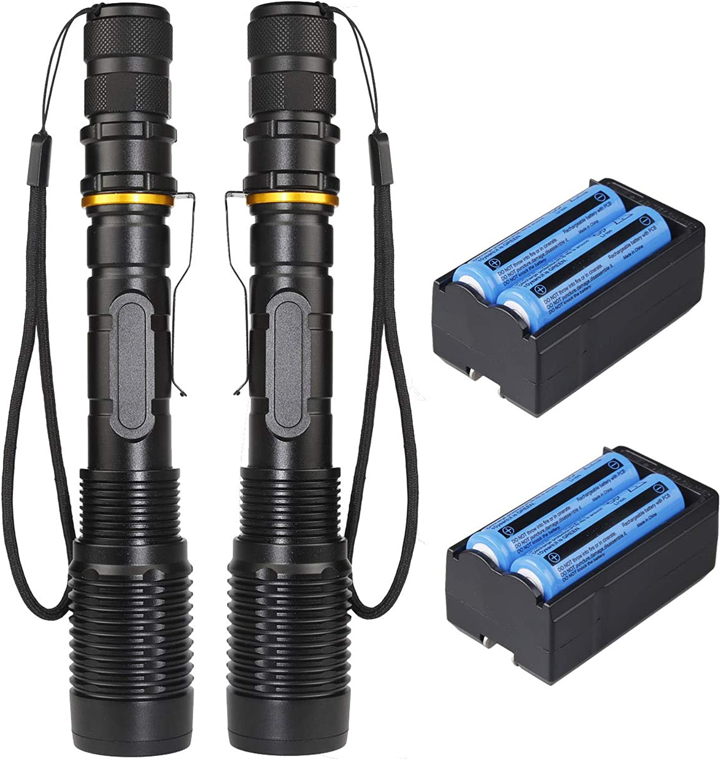 2 Pack of T6 Tactical LED Flashlights 5 Modes Zoom Focus Waterproof LED Flashlight Torch with Batteries and Chargers