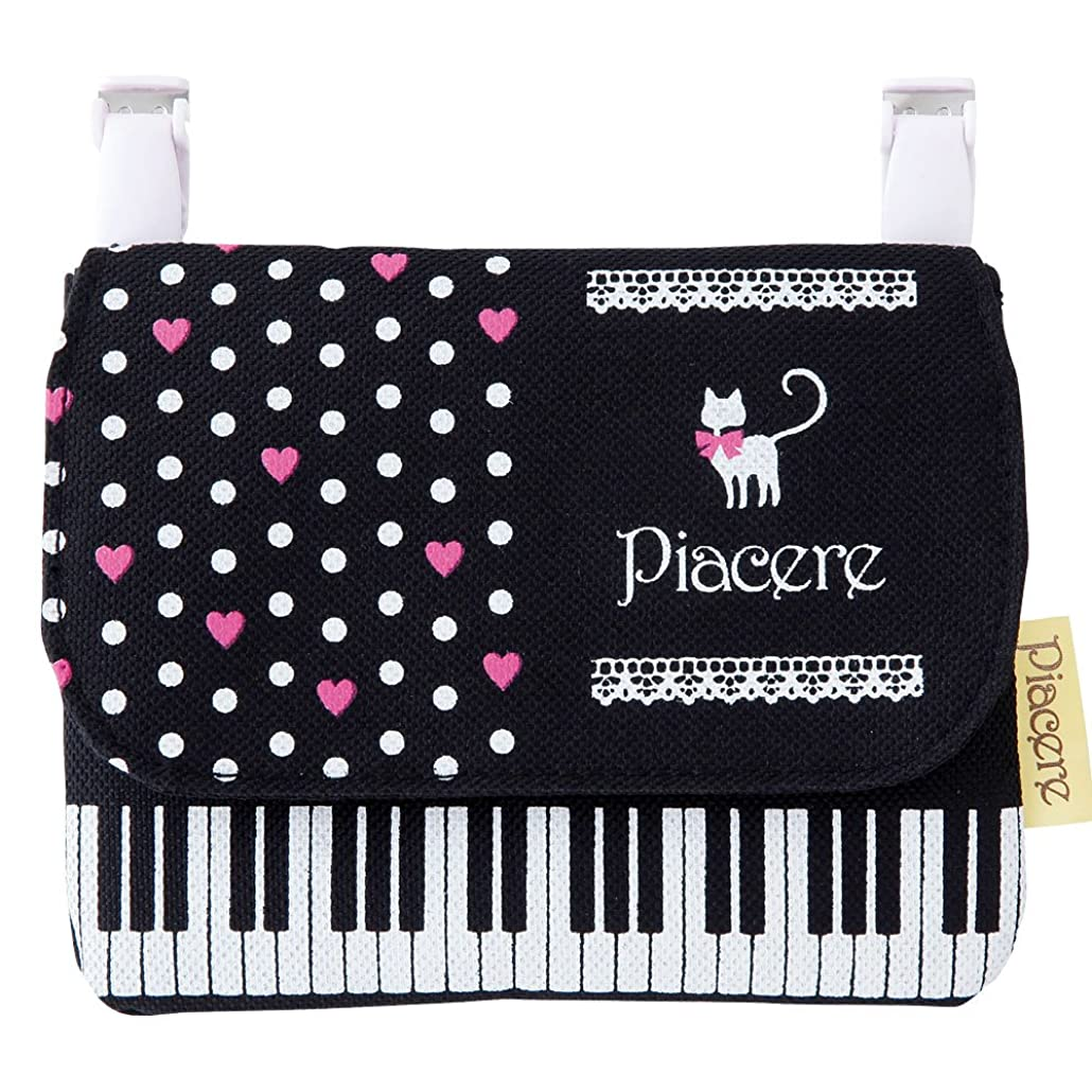 締め切り寝てるきつくピアチェーレ ポケットポーチ(猫&鍵盤柄) ポケットティッシュケース付き移動ポケット 音楽モチーフ