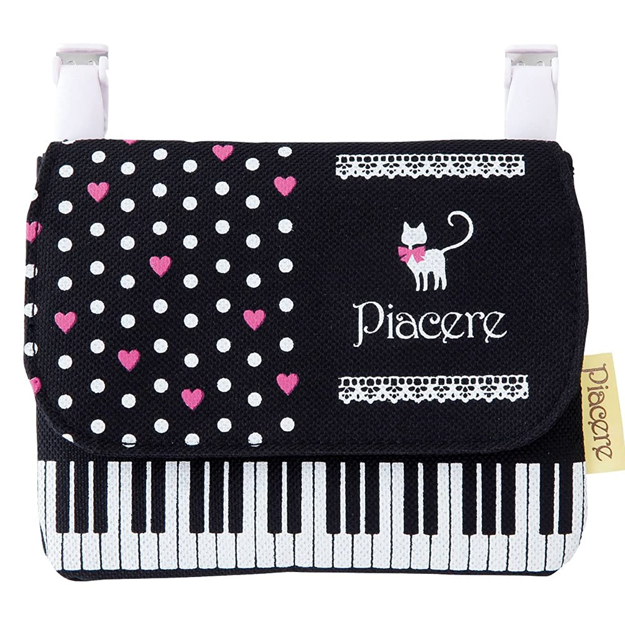 望まないペルソナ更新するピアチェーレ ポケットポーチ(猫&鍵盤柄) ポケットティッシュケース付き移動ポケット 音楽モチーフ