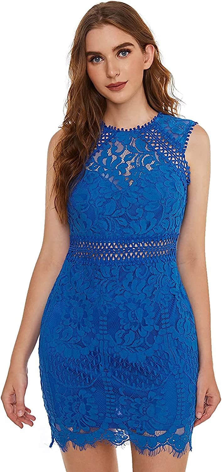 Duck bean Women's Sleeveless Special price for Max 87% OFF a limited time Scalloped Fitted Floral Hem Lace Bo
