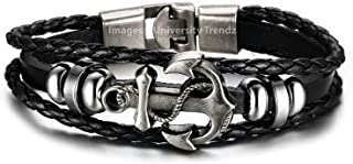 University Trendz Leather Base Metal Bracelet for Unisex Adult