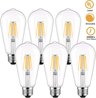 Dimmable Edison LED Bulb, Warm White 2700K, Kohree 6W Vintage LED Filament Light Bulb, 60W Incandescent Equivalent, E26 Medium Base Antique Style Lamp UL Listed (6 Watts 6 Packs 2700Kelvin Warm White)