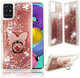 Zase Samsung A51 Clear Case, Liquid Glitter Sparkle Bling Compatible with Galaxy A51 6.5-inch Cute Girls Women Protective Durable Cover Floating Waterfall Quicksand w/Phone Ring Holder (Pink Rose)
