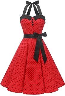 Vestidos Corto Cuello Halter Estampado Flores y Lunares Vintage Retro Fiesta 50s 60s Rockabilly Mujer