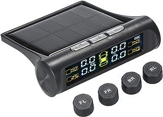 Sangmei Sistema de monitoramento de pressão de pneu de carro sem fio solar TPMS com 4 sensores externos CV#