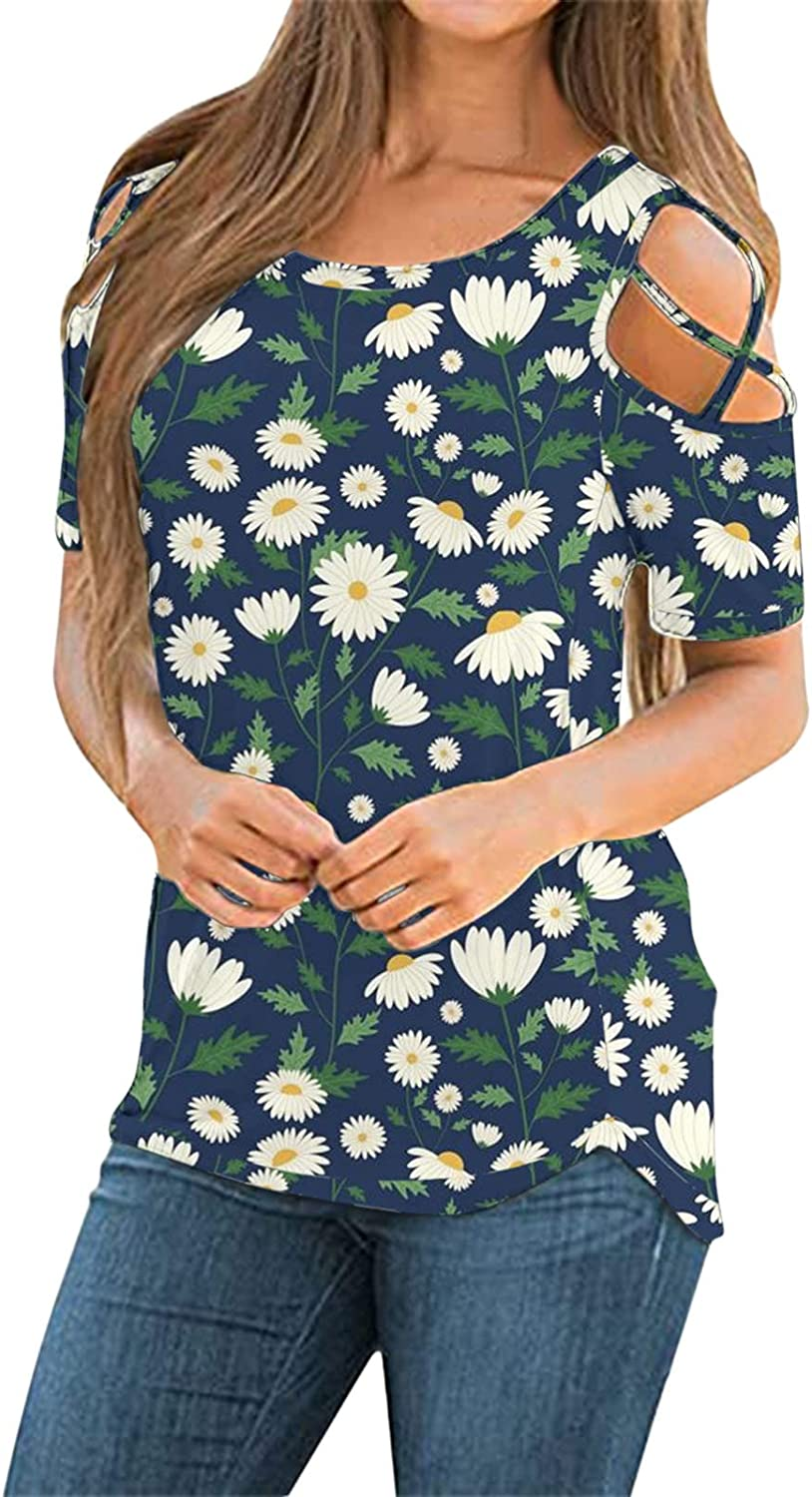 Cold Shoulder Tops for Women,Womens Tshirts Short Sleeve Summer Tops Strappy Cold Shoulder Shirts Crew Neck Tee Tunic Blue