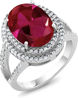 925 Sterling Silver Red Created Ruby Women's Cocktail Ring (7.19 Carat, Oval 14X10MM)