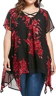 iTLOTL Women Plus Size Criss Cross Double Chiffon Print Short Sleeve Shirt Tops Blouse