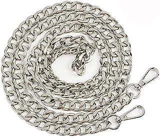 DIY Purse Chain Strap Replacement Flat Metal Chain Handbags Strap for Clutch Wallet Satchel Tote Bags Shoulder Crossbody Bag Satchel Long Repair Strap Women (Silver)