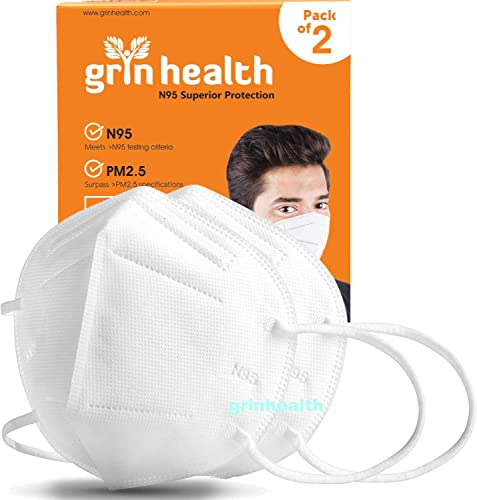 Grin Health 5 Ply Face Mask without Valve Pack of 2 White