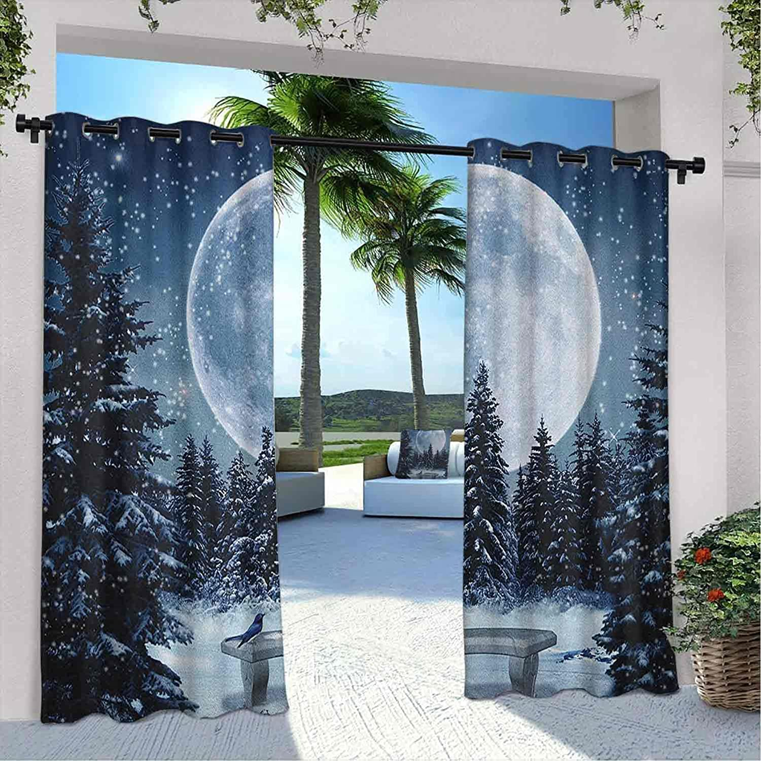 Printed Outdoor Winter Curtain Dreamy Big Long Beach Mall Night F Clearance SALE! Limited time! a with