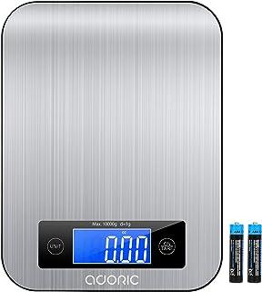 Adoric Báscula de cocina con pantalla LCD y práctica báscula doméstica con báscula digital de función de tara, hasta 10 k...