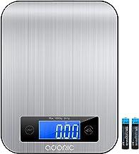 Adoric Balance de cuisine avec écran LCD et balance ménager pratique avec fonction Tara pour max. 10 kg Noir et argenté