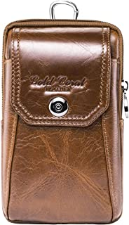 Men Genuine Leather Cell Phone Belt Loop Holster Case Belt Waist Bag Pouch Purse Wallet with a Clip