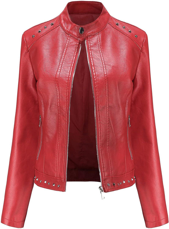 Winter Coats for Women, Women's Slim Leather Stand Collar Zip Motorcycle Suit Belt Coat Jacket Tops