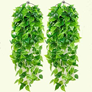 2 Pcs Artificial Hanging Plants Ivy Vine Fake Leaves Greeny Chain 3.2 Ft Fakes Plants Artificial Vines Green Leaf Garlands...
