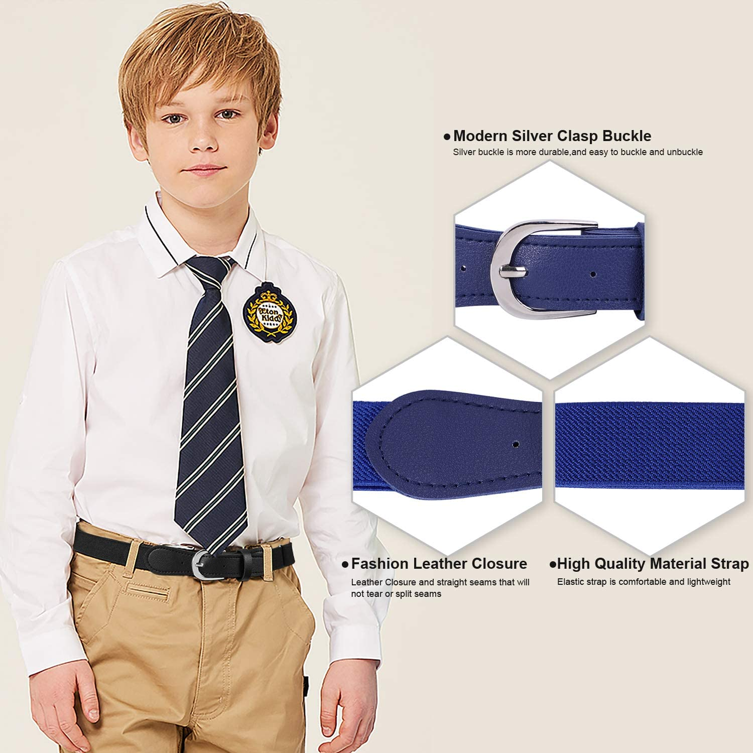 Stretch Belts for Boys and Girls with Leather Closure 2 Pack JASGOOD Kids Elastic Adjustable Belts