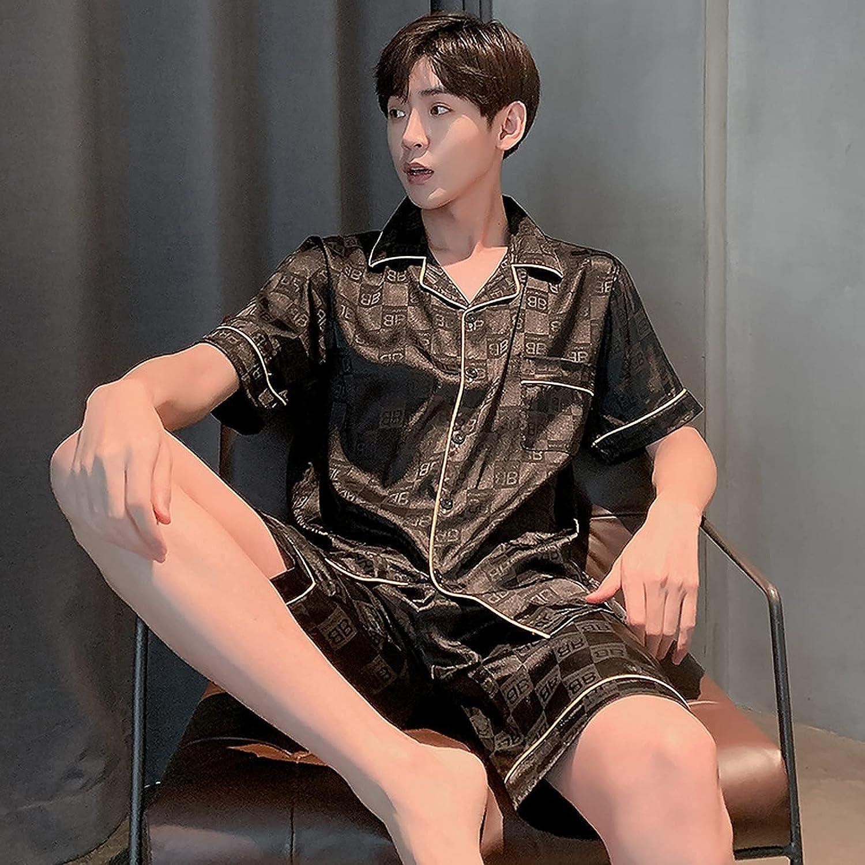 Men's Pajama Sets Soft Summer Men Sleepwear Set Short Sleeve Rayon Silk Pajamas for Men Elastic Waist Pant Leisure Outwear