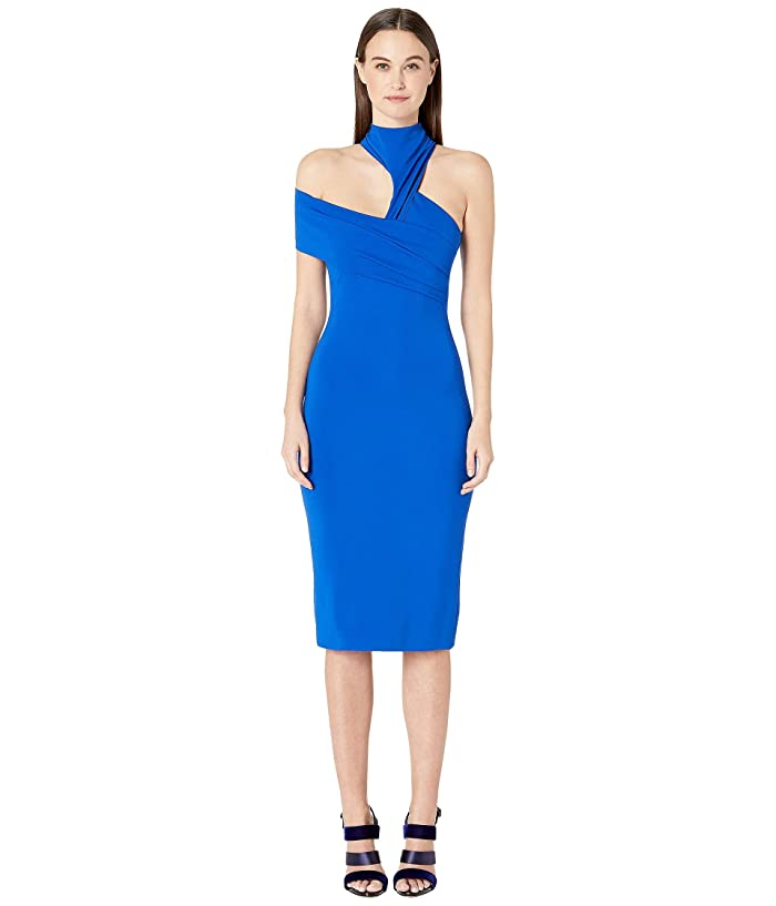 Cushnie Sleeveless Pencil Dress with Band at Right Arm (Lapis) Women