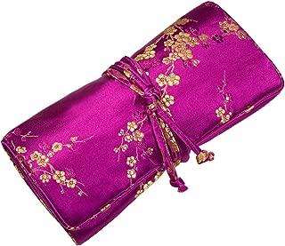 Jewelry Roll Clutch Large - Silk Brocade (Cherry Blsm Fuchsia)