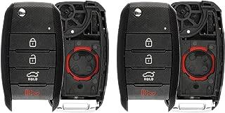 KeylessOption Keyless Entry Remote Flip Key Fob Shell Case Cover Button Pad for Kia Optima Rio Soul Sportage (Pack of 2)