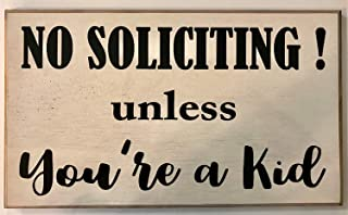 Waaa ,18x28cm, No Soliciting Unless Youre A Kid Wood Signs Rustic with Quotes No Salesmen Sleeping Baby Night Shift Worker Keep Out Plaque Door Sign 823403