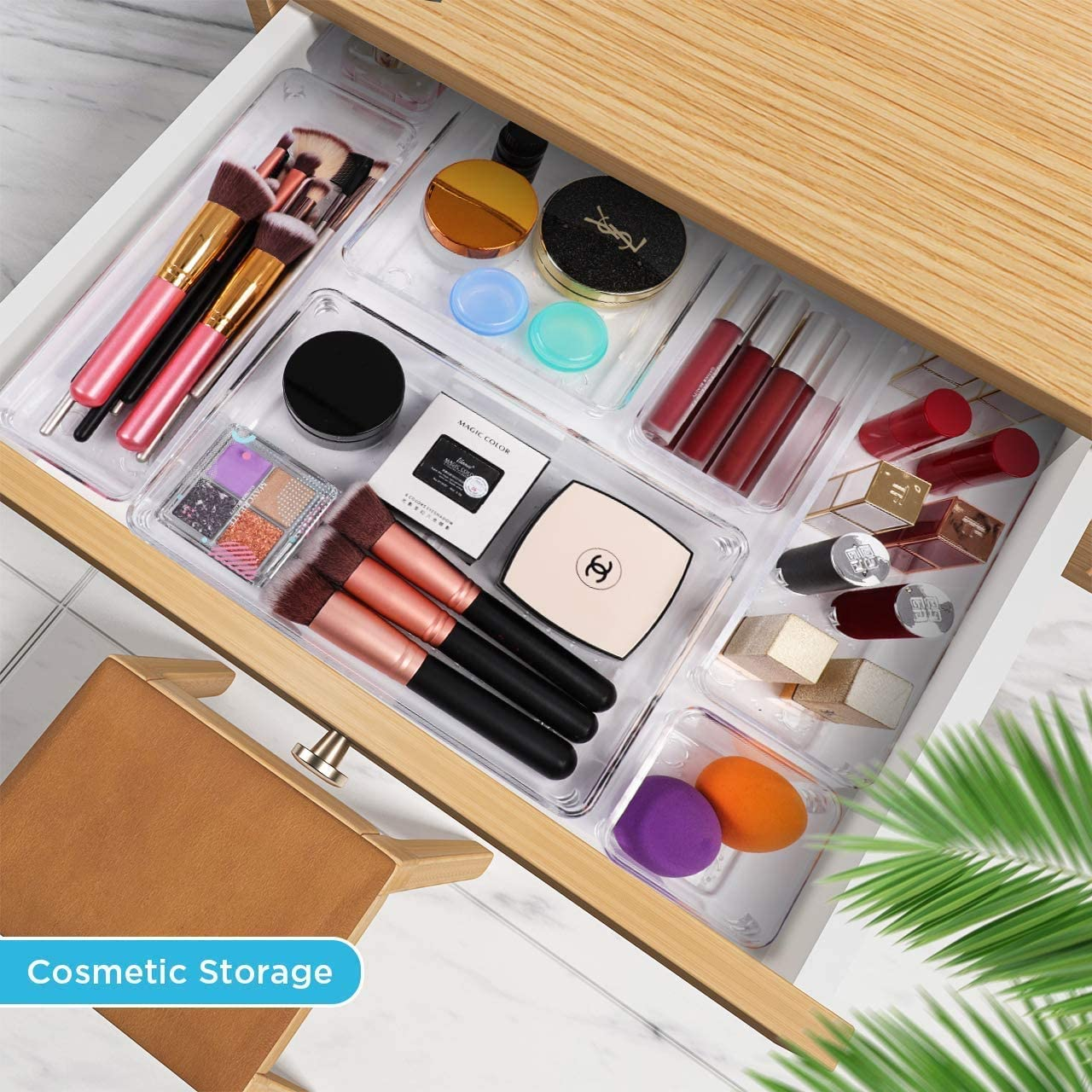 Kootek 28 Pcs Modular Drawer Organizer with 4-Size Drawer Dividers Makeup Organizers Bins Clear Customize Layout Storage Box with Bottom Wave Point Design for Bedroom Bathroom Kitchen Office