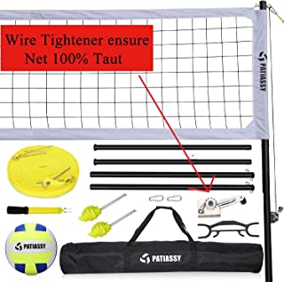 Volleyball Net Set System, Outdoor Portable Volleyball Net with Poles for Backyards, Free Tightener for Tightening Net