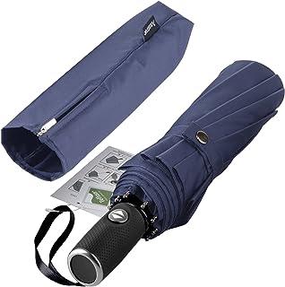 Windproof Travel Umbrella with Teflon Coating,Auto Open Close Lightweight Sun&Rain Umbrella with 10 Rib Construction, Zipp...