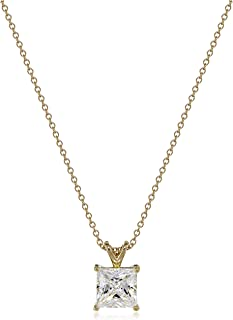 Platinum or Gold Plated Sterling Silver Princess Cut Solitaire Pendant Necklace made with Swarovski Zirconia, 18