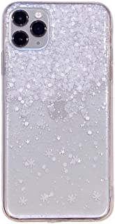 CaserBay iPhone Phone Case Elegant Star, White Snow Design Sparkly Shiny Glitter Soft Slim Gel TPU Rubber Phone Cover Clear-Snow for 6.1 Inch iPhone XR