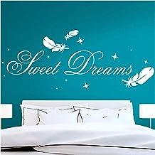 Grandora Muursticker citaat Sweet Dreams met sterren en veren I taupe (BxH) 140 x 39 cm I muursticker kinderkamer sticker ...