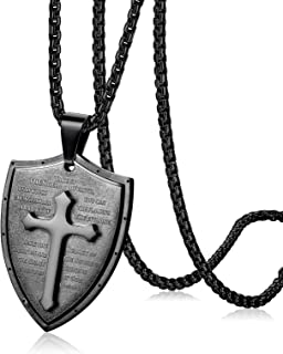 Cross Necklace for Men Shield Armor of God Ephesians 6:16-17,Stainless Steel Faith Pendant Necklace Christian Jewelry