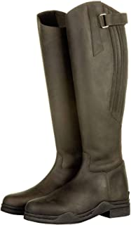 HKM 'Country' Brown Leather Long Horse Riding Yard Mucking Out Waterproof Boots (Euro 37)