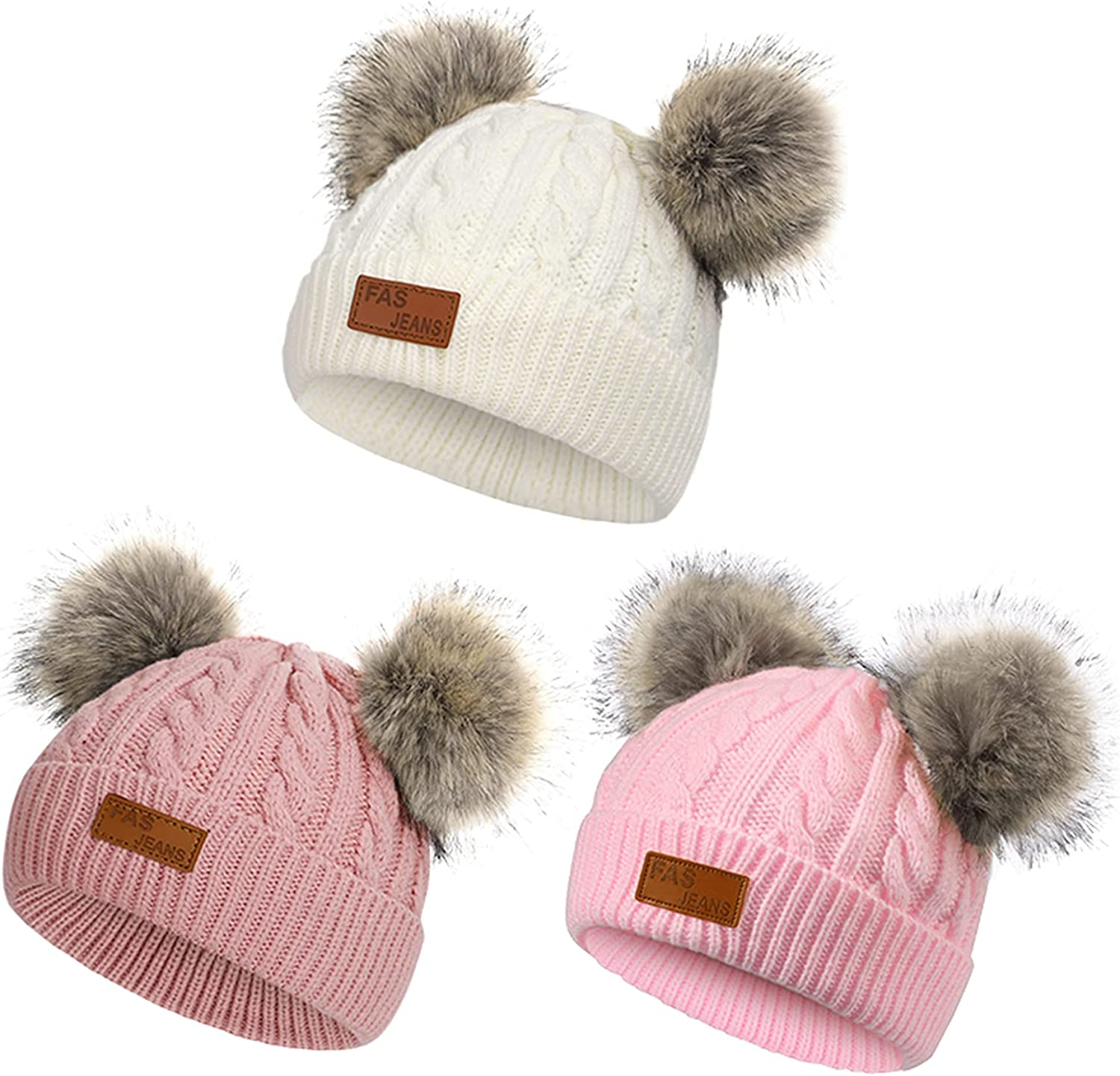 American Trends Toddler Hats Beanies for Girls Boys Kids Winter Warm Hat with Double Pompom Cute Knit Thick Baby Cap 3 Pack White & Deep Pink & Light Pink 2-8 Years: Clothing, Shoes & Jewelry