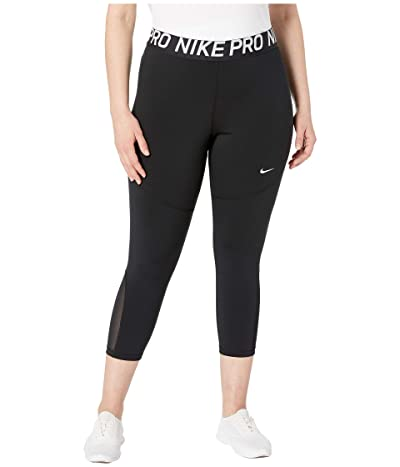 Nike Pro Crop Tight (Sizes 1X-3X) (Black/White) Women