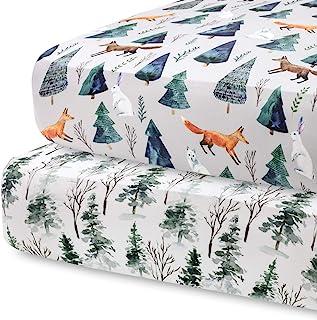 Pobibaby POBI Baby - 2 Pack Premium Quality Fitted Crib Sheets for Standard Crib Mattress - Ultra-Soft Organic Cotton Blen...
