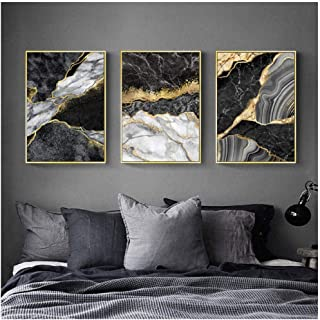 Kkglo 3Pcs Abstract Wall Art Black White Canvas Painting Marble With Golden Veins Posters Prints Wall Picture For Living R...