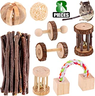 Keadic Hamster Chew Toys, Include Dumbells, Exercise Bell Roller, Fun Pet Balls, Wooden Swing, Sisal Woven Carrot Toy for Chinchilla Hamster Guinea Pig Birds Bunny Rabbits Gerbils