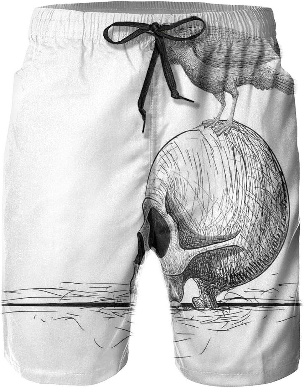 Sketch Illustration Line Art Composition of Bird Perched On A Human Skull Drawstring Waist Beach Shorts for Men Swim Trucks Board Shorts with Mesh Lining,L