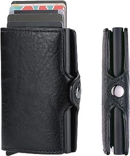 RFID Blocking Mens Credit Card Holder Slim Minimalist Metal Mini Wallet Automatic Pop Up Card Wallet Men Case Leather (Black)