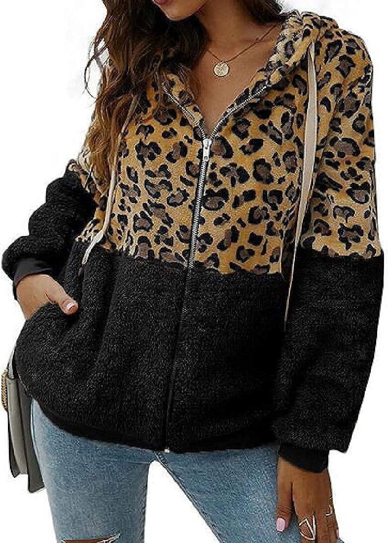 Women Sherpa Faux-Fur Hooded Leopard Print Outerwear Stitching Fall-Winter Jacket Coat