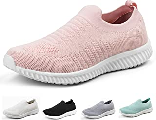 Akk Womens Athletic Shoes Lightweight - Memory Foam Slip On Tennis Sneakers Pink
