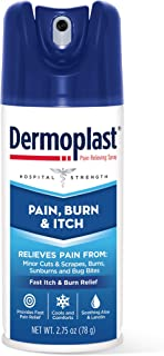 Dermoplast Pain, Burn & Itch Spray, Pain Relief Spray for Minor Cuts, Burns and Bug Bites, 2.75 oz (Packaging May Vary)