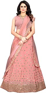 Ethnic Empire Women's Georgette Semi-stitched Lehenga Choli With Dupatta (Ethnic_ER15024_Peach_Free Size)