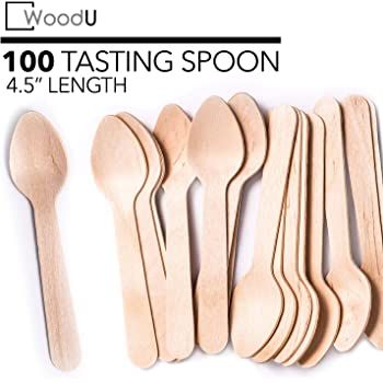 Biodegradable Compostable Birchwood Gmark Eco-Friendly 4 Mini Wooden Spoons 100 Flat End