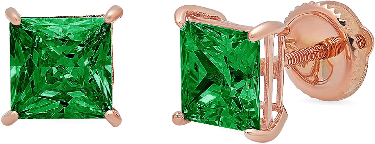 Clara Pucci 3.1 ct Brilliant Princess Cut Solitaire VVS1 Flawless Simulated Emerald Gemstone Pair of Stud Earrings Solid 18K Rose Gold Screw Back
