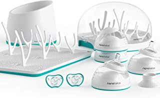 nanobébé Complete Newborn Starter Kit - Breastfeeding Baby Bottles set (Anti Colic) Drying Rack, Pacifiers, Sterilizer, Warmer & breast pump adapter. Top Registry Gift Set