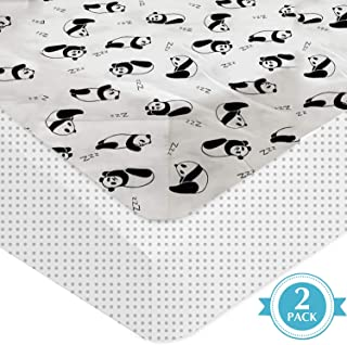 Rajlinen Crib Sheets -100% Organic Cotton Crib Sheets for Infant Babies and Toddler, Fitted Crib Sheets, for Baby Boy & Baby Girl -Polka & Panda -Standard Crib Size Pack of 2 (Grey)(Unisex)