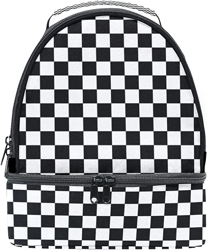 My Daily Kids Lunch Box Black White Plaid Gingham Checkered Reusable Insulated School Lunch Tote Bag
